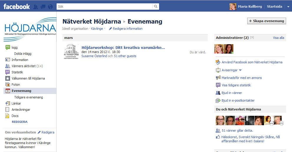 Evenemang på facebook - Nätverket Höjdarna