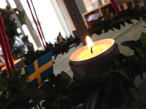 Fira framgångar: Ljuskrans från Maria Edgren med familj