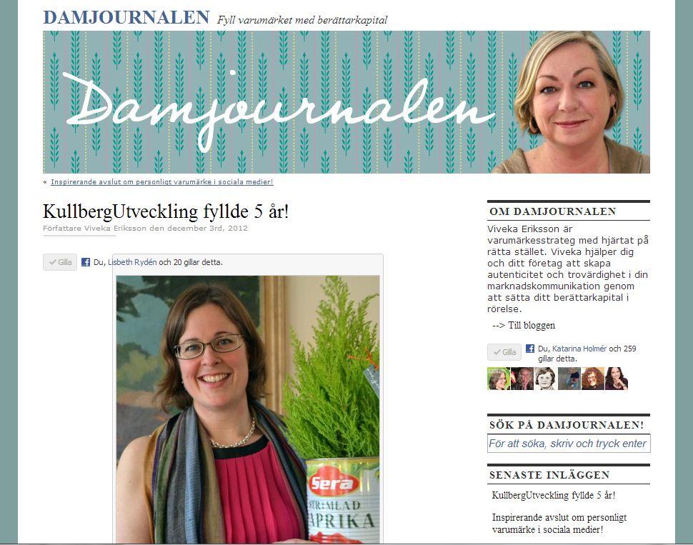 Maria Kullberg fick burk med berättarkapital av Damjournalen