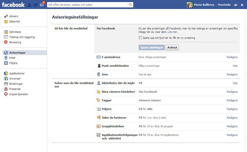 Facebook: stäng av ljudet på aviseringar