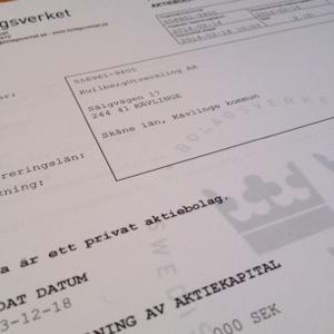 Registreringsbevis för KullbergUtveckling AB