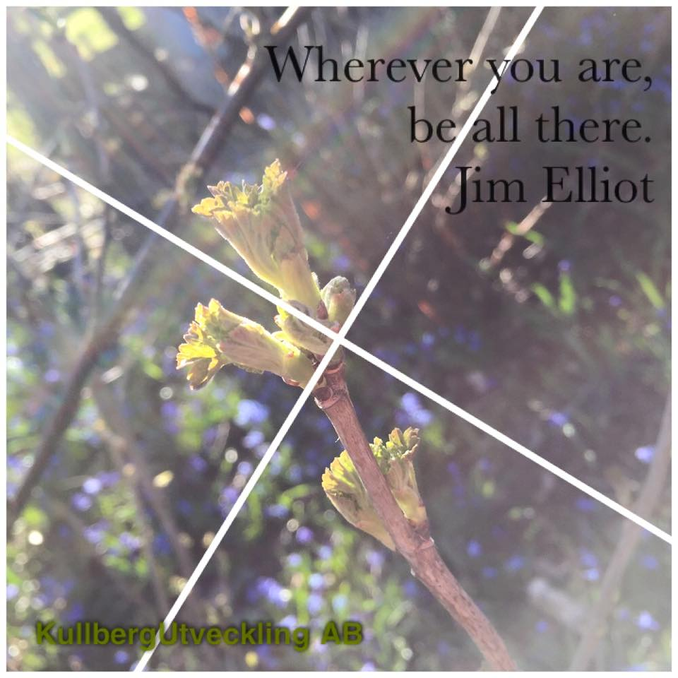 Om att säga nej: Wherever you are, be all there. Jim Elliot