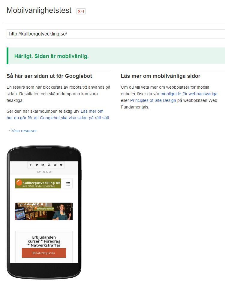 Härligt, sidan är mobilvänlig (Googles nya algoritmer)