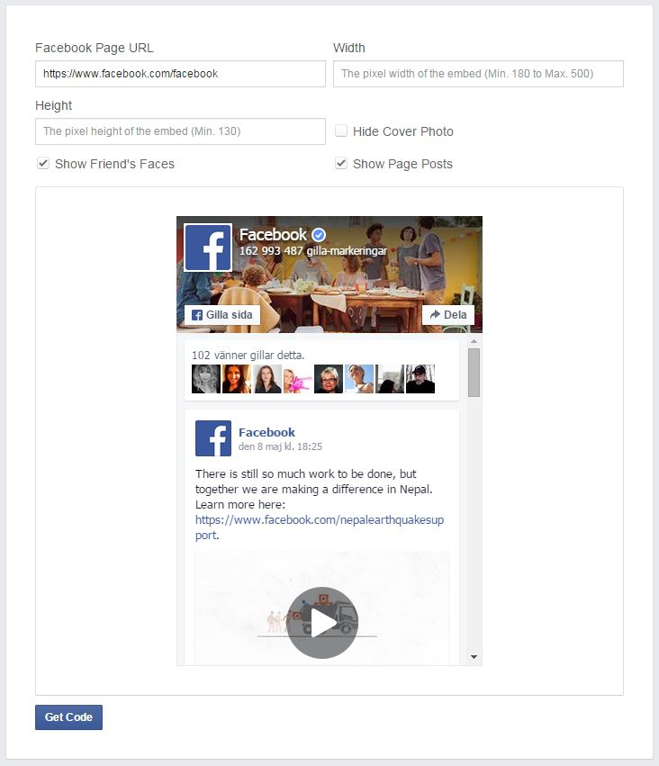 Facebook Developers - Like Box till din hemsida