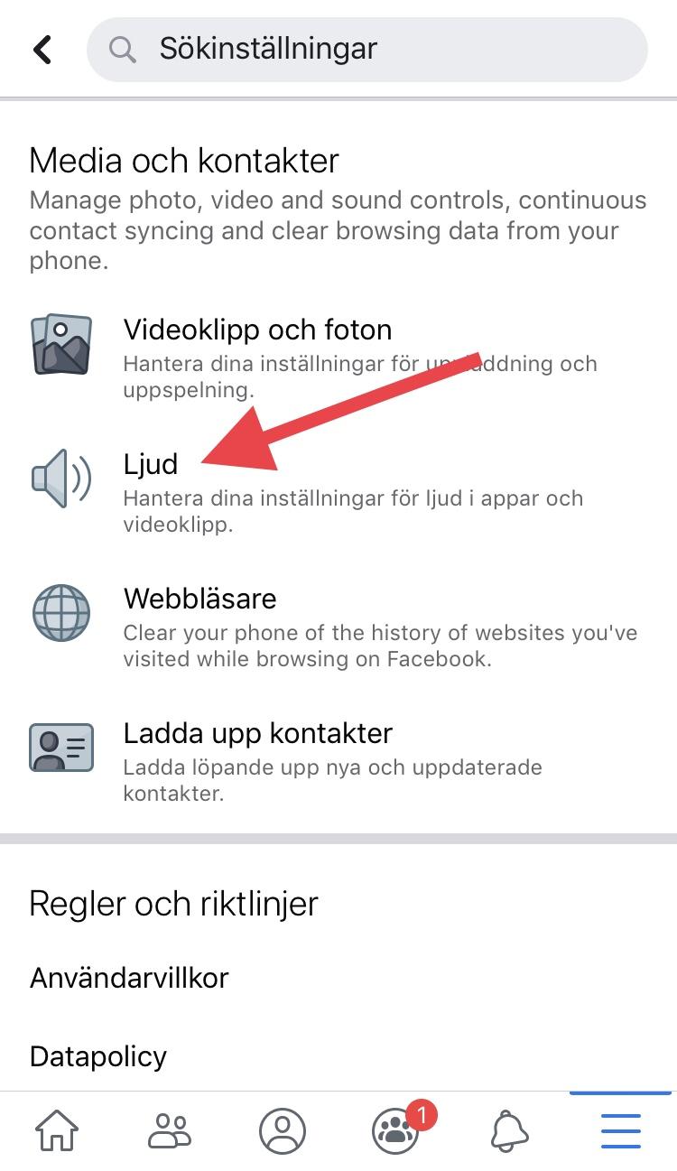 Ta bort ljudet på Facebook i mobilen - bild 2