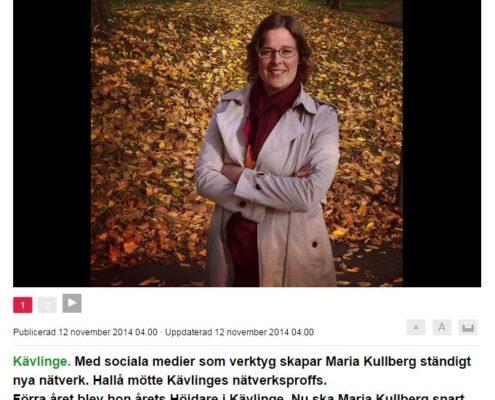 En höjdare på att skapa nätverk. Sydsvenskan 20141112
