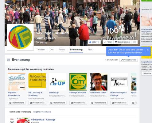 Prenumerera på evenemang Facebook