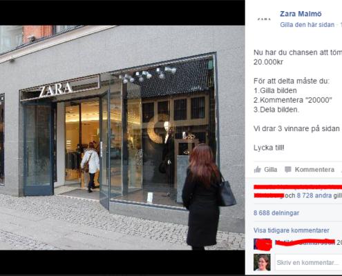 Falsk sida, falsk tävling = skräp på facebook